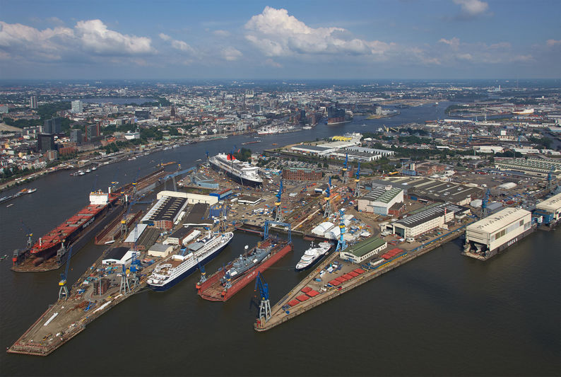 Blohm + Voss shipyard in Hamburg, Germany