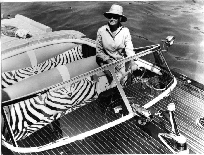Anita Ekberg onboard a Riva in the 50s or 60s