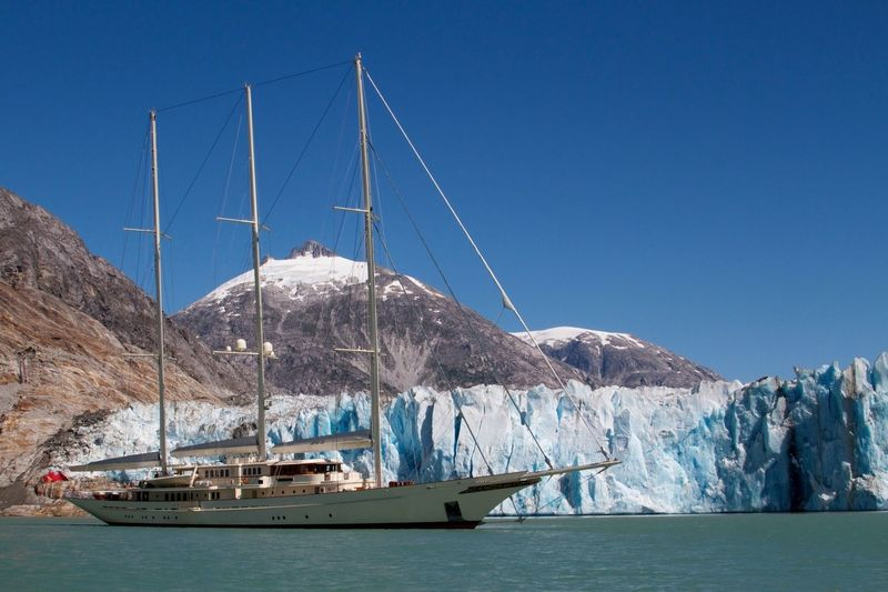 Athena anchored off glacier