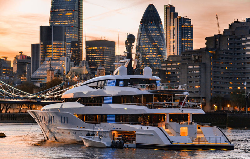 Feadship superyacht Vanish on the River Thames, London