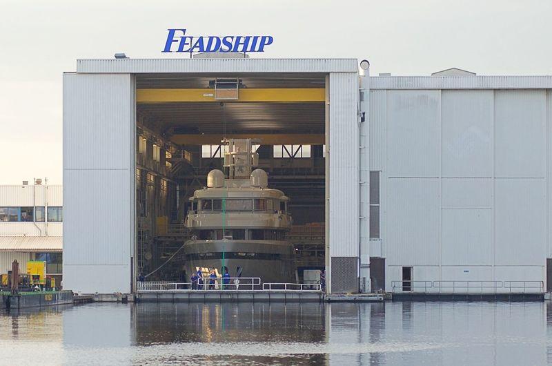 Feadship De Vries 701 launch in Aalsmeer