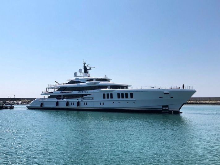 Spectre just after her launch at Benetti in Livorno, Italy