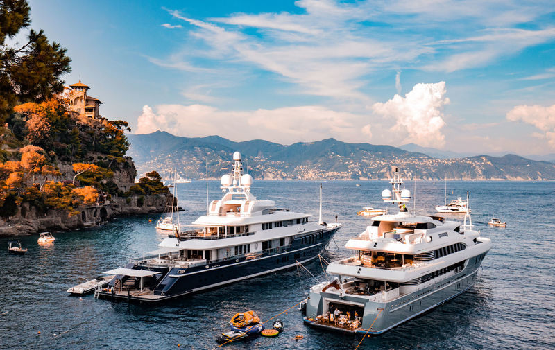 Triple Seven and Sovereign moored in Portofino, Italy