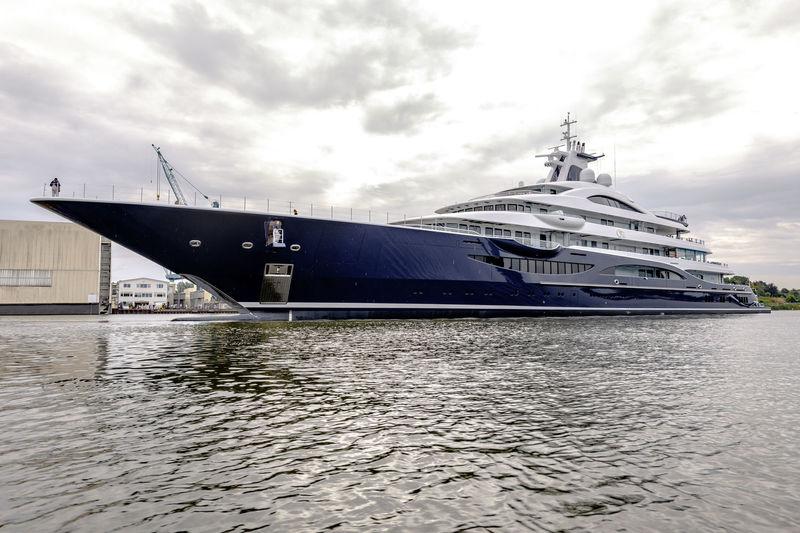 Lürssen superyacht TIS launch in Rendsburg