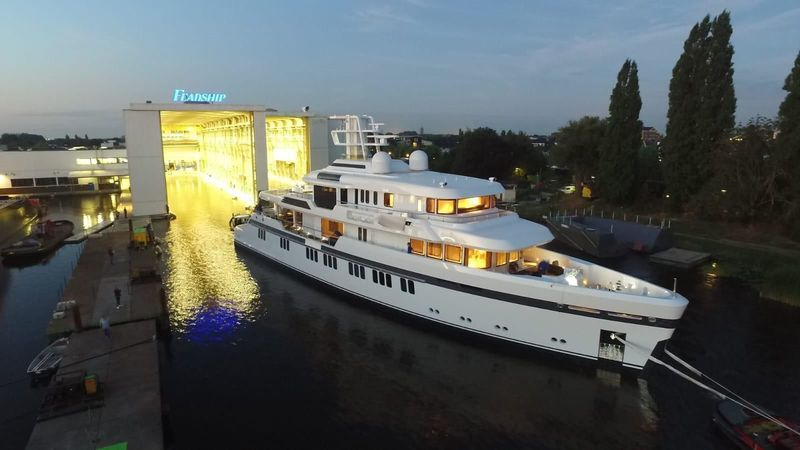 Feadship Project 701 launched in Aalsmeer