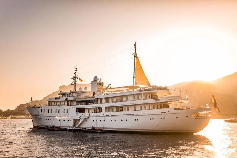 Superyacht Sherakhan anchored off Monaco