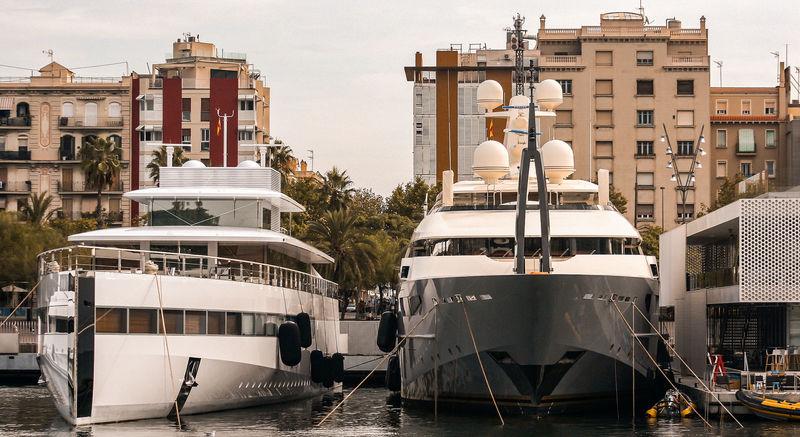 Superyacht Venus and Azteca in Barcelona