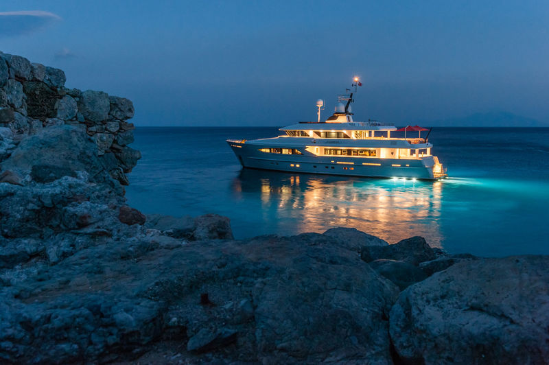 Alumercia anchored at night