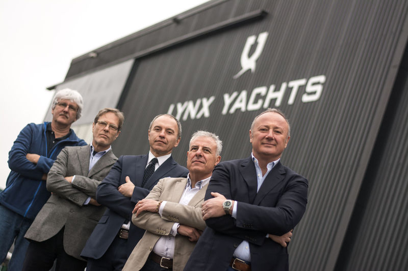 Slim Bouricha and the management team outside of Lynx Yacht