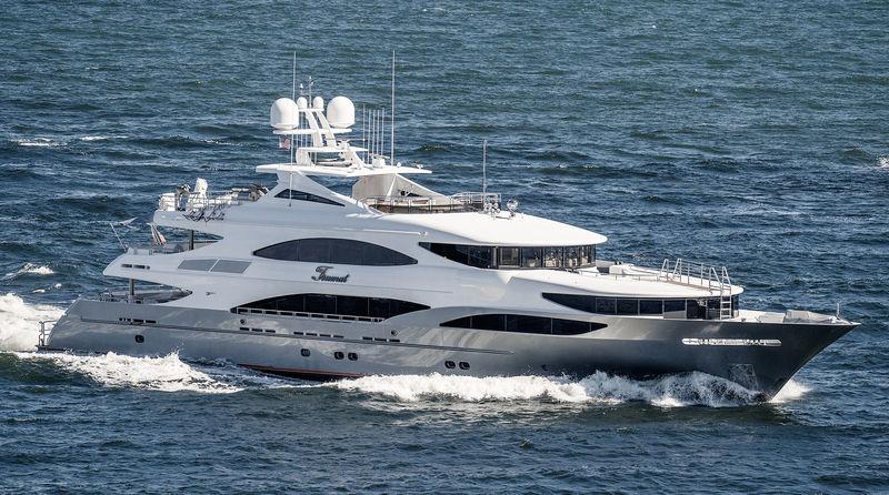 Trinity superyacht Tsumat arriving in Port Everglades