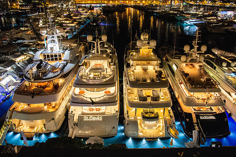The Monaco Yacht Show 2018 at night