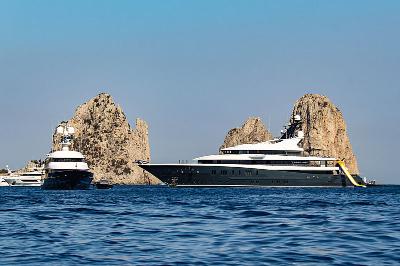 Phoenix 2 and T.M Blue One at anchor in Capri