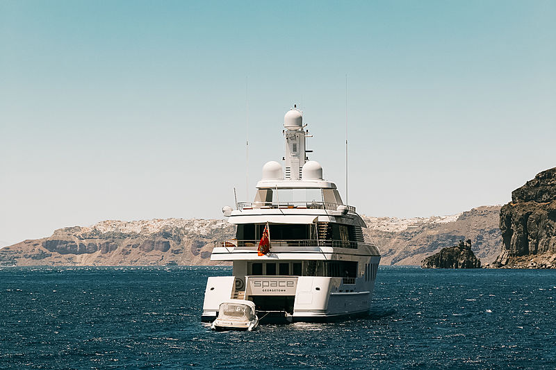 Space motor yacht by Feadship in Thira, Greece