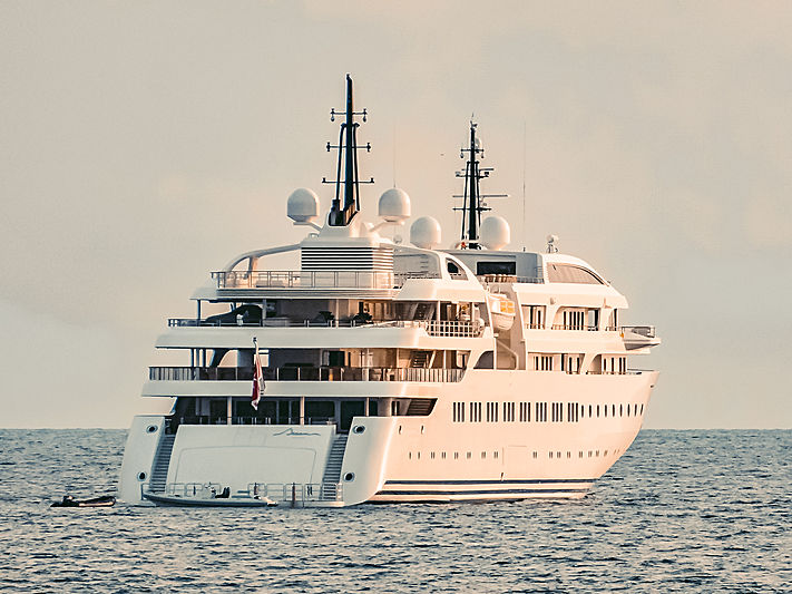 Dream motor yacht anchored off Athens