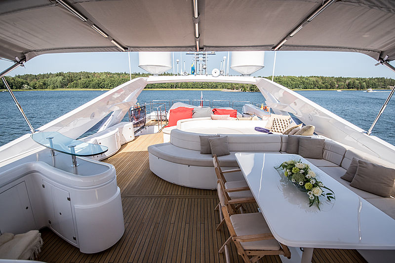 Custom Line 112 yacht Queen of Sheba deck