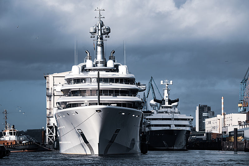 Eclipse and Octopus motor yachts in Hamburg
