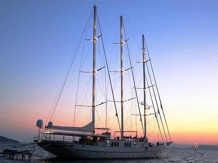 Montigne sailing yacht moored in evening