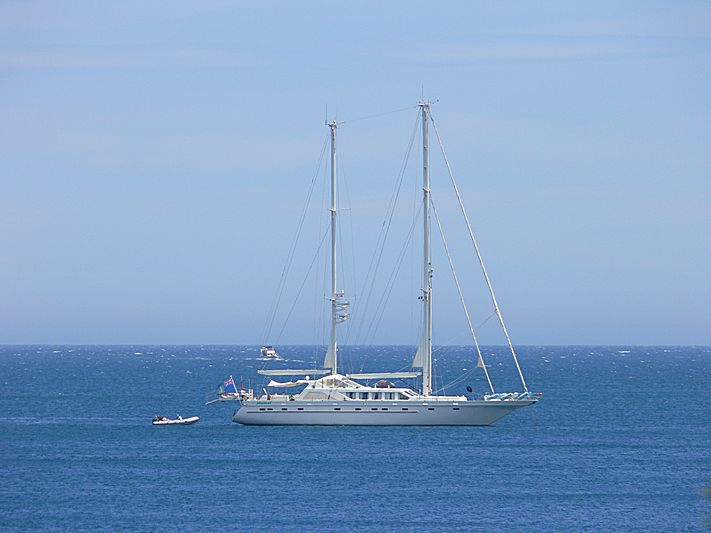 Playmobil yacht anchored off Iles Sainte- Marguerite