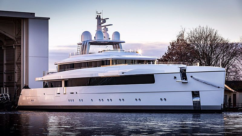 Feadship Najiba yacht launch in Aalsmeer