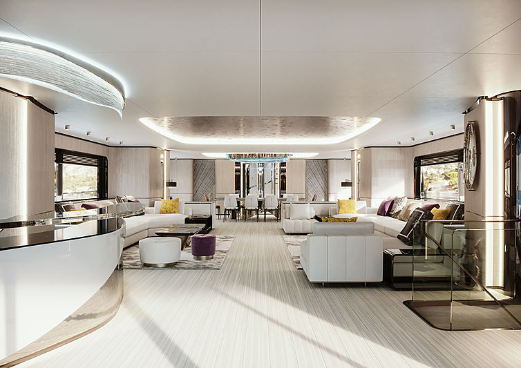 Logica 183 yacht main saloon rendering