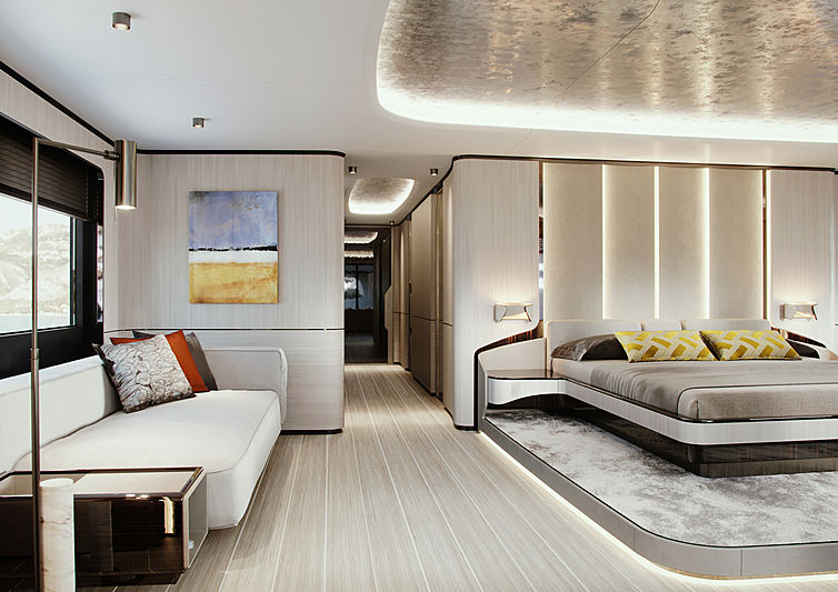 Logica 183 yacht owner's suite rendering