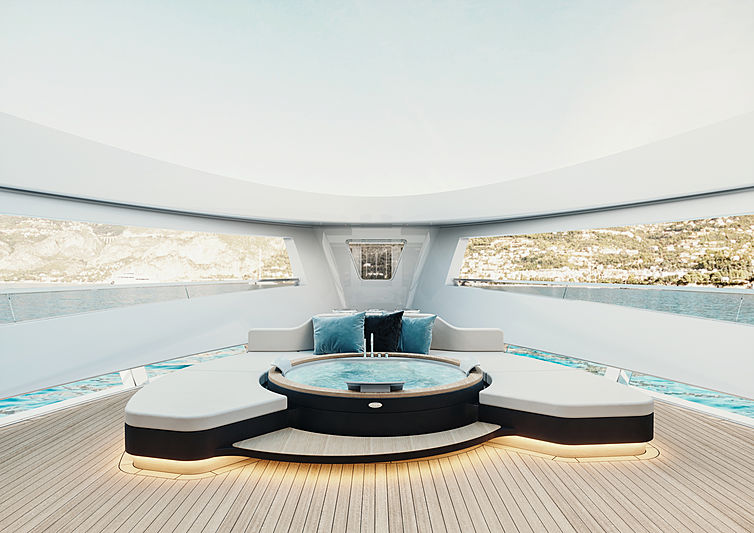 Logica 183 yacht owner's jacuzzi on foredeck