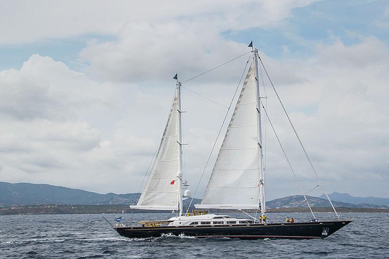 The Aquarius yacht sailing in Porto Cervo