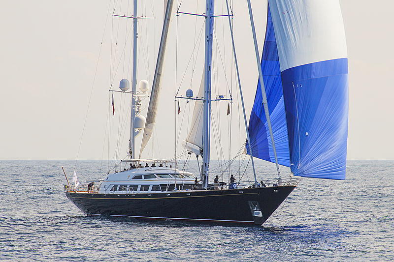 The Aquarius yacht sailing in Porto Cervo