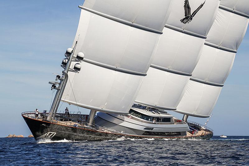 Maltese Falcon yacht sailing in Porto Cervo