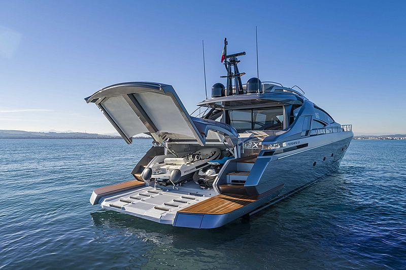 Pershing 8X yacht anchored