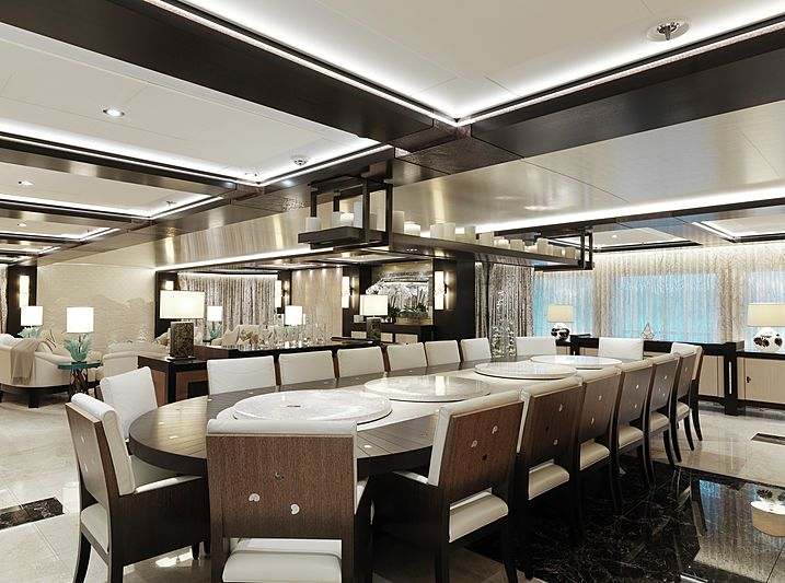 Equanimity yacht dining area