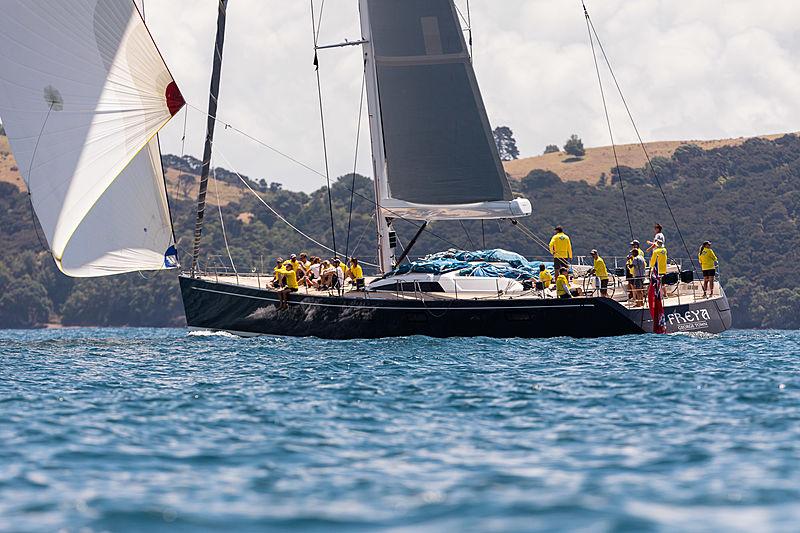 Freya yacht practising in the Bay of Islands