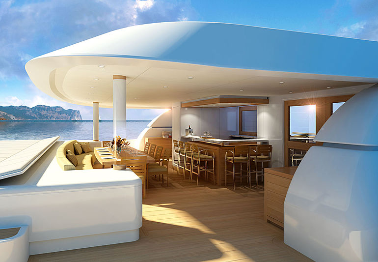 Q5 yacht aft deck rendering