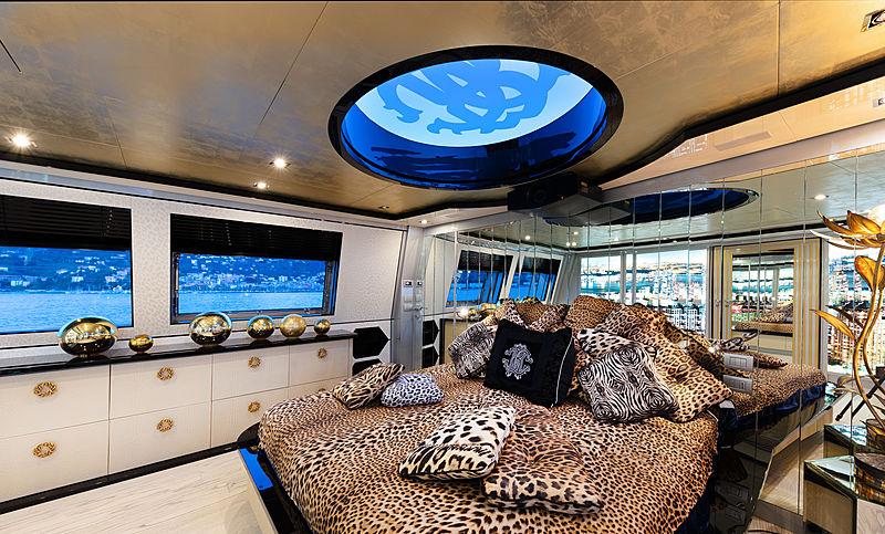 Freedom yacht stateroom by Roberto Cavalli