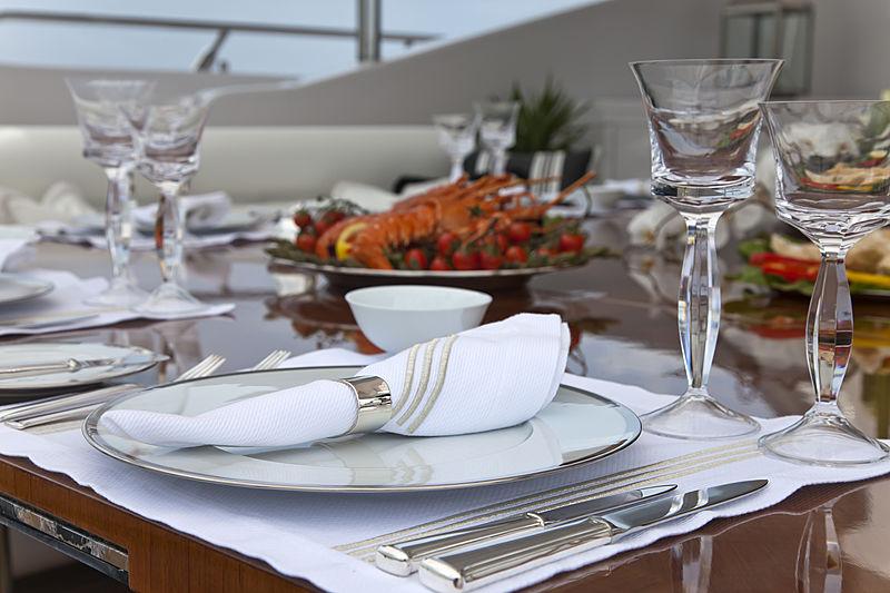 Rush yacht deck dining detail