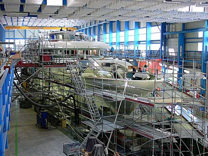 Archimiedes ycht under construction at Royal Van Lent