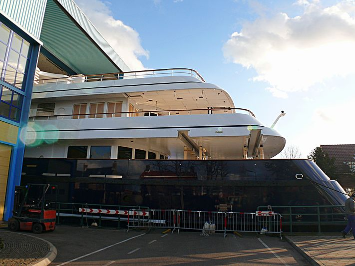 Archimedes yacht partial launch at Royal Van Lent