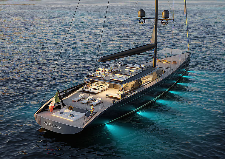 Perini Navi E-volution 47m sailing yacht rendering