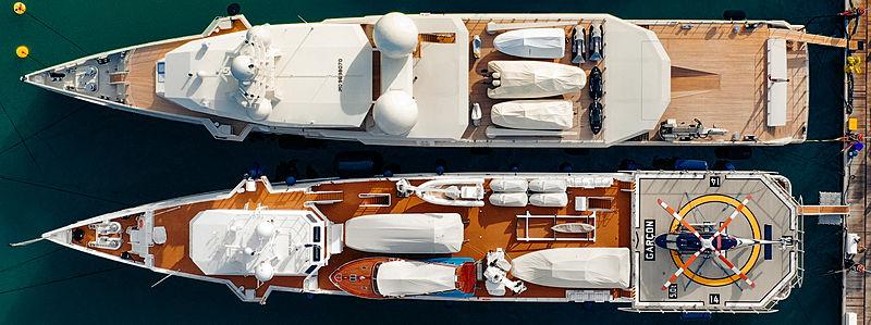 Umm Alhoul & Garçon yachts in Port Victoria, Seychelles