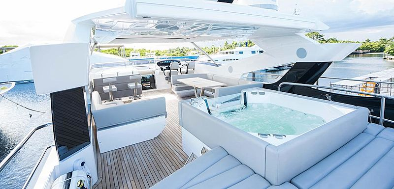 Hideout yacht deck and jacuzzi