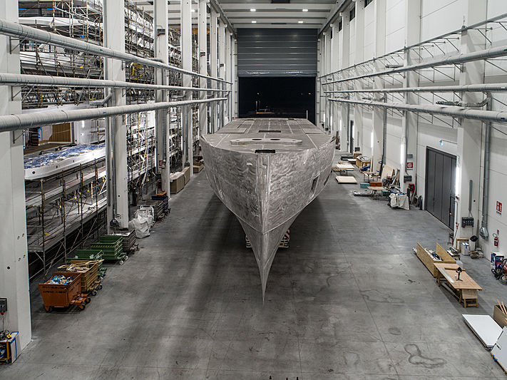 Columbus Sport 50M yacht under construction at Palumbo Ancona
