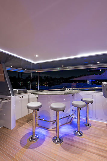 Hat Trick yacht deck and bar