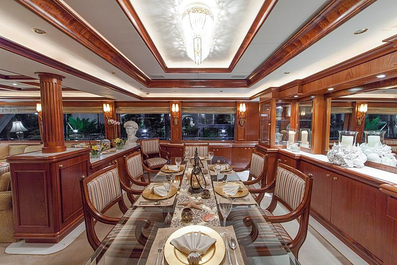 Aspen Alternative yacht dining area