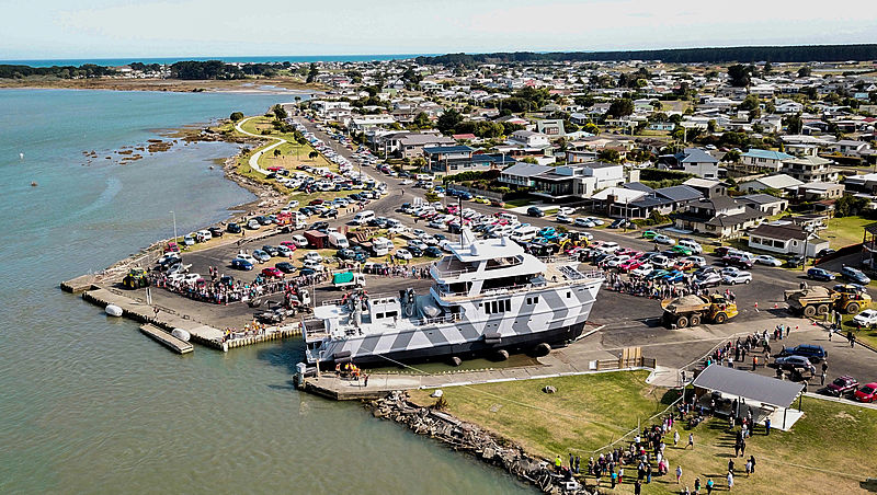 The Beast yacht launch in Foxton, New Zealand
