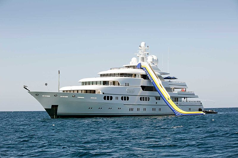 Titania yacht with slide