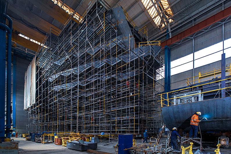REV yacht under construction