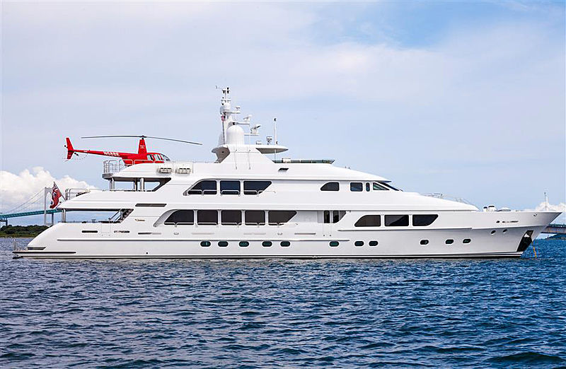Three Forks yacht profile with helicopter