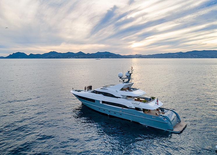 Legenda yacht at anchor