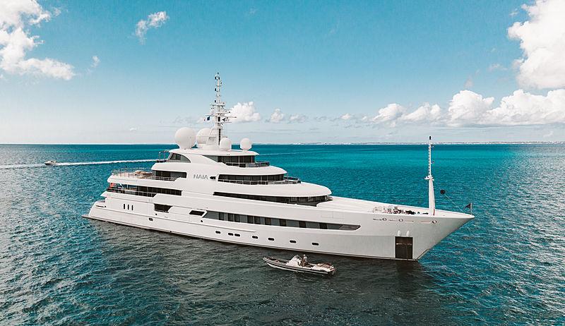 The 73m motor yacht Naia in Marigot Bay