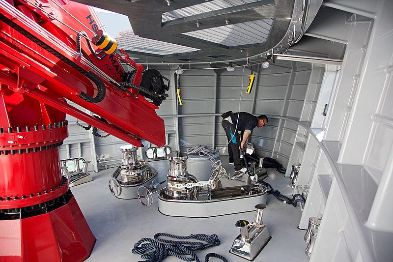 Audace yacht foredeck technical area
